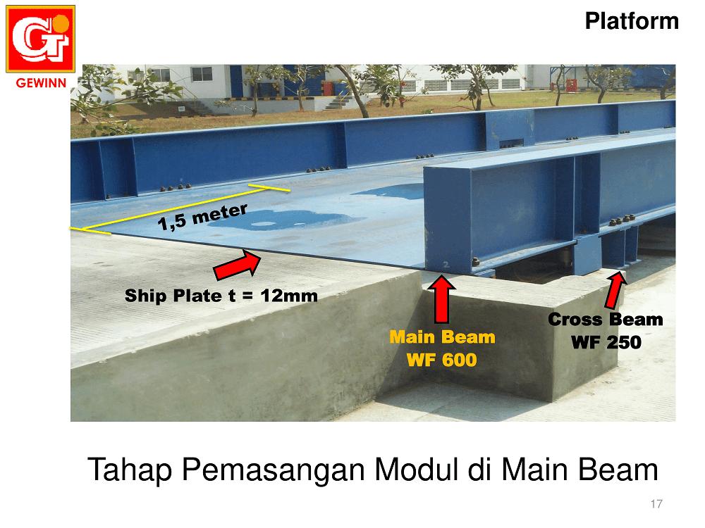 komponen main beam dan cross beam di jembatan timbang