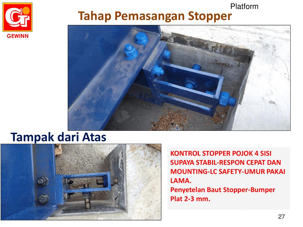 tahap pemasangan stopper di jembatan timbang
