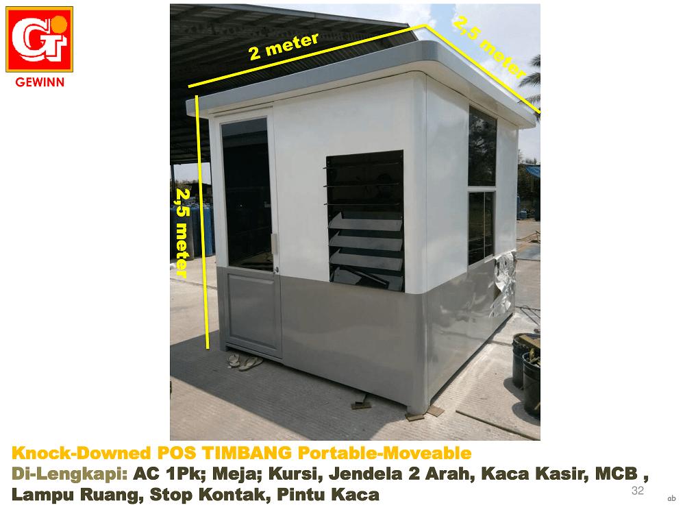 spesifikasi pos operator jembatan timbang, termasuk: AC, meja, kursi, jemdela dua rah, kaca kasir, stop kontak, pintu kaca, dan sebagainya