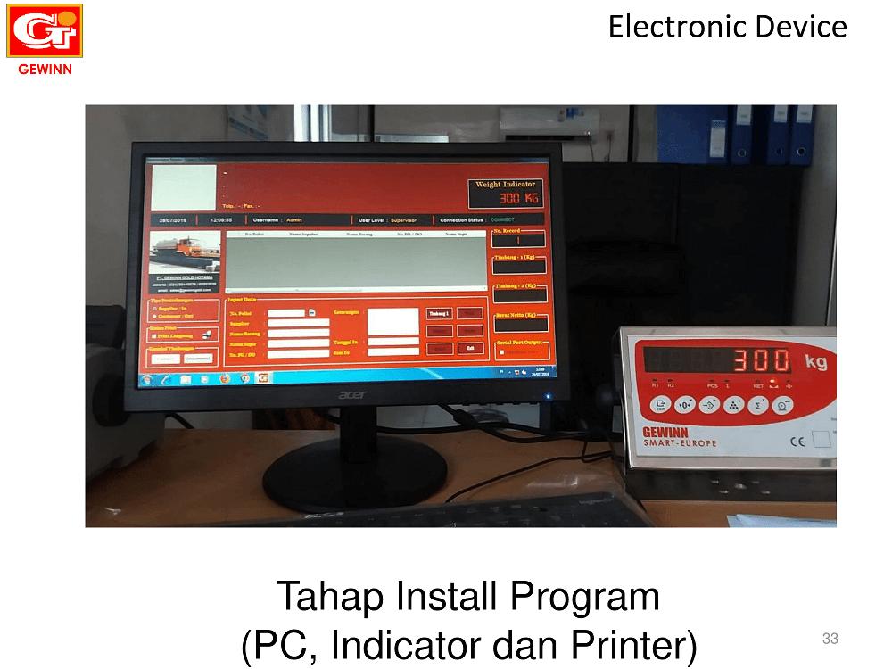 hardware pendukung jembatan timabng: komputer, layar monitor, indikator, printer