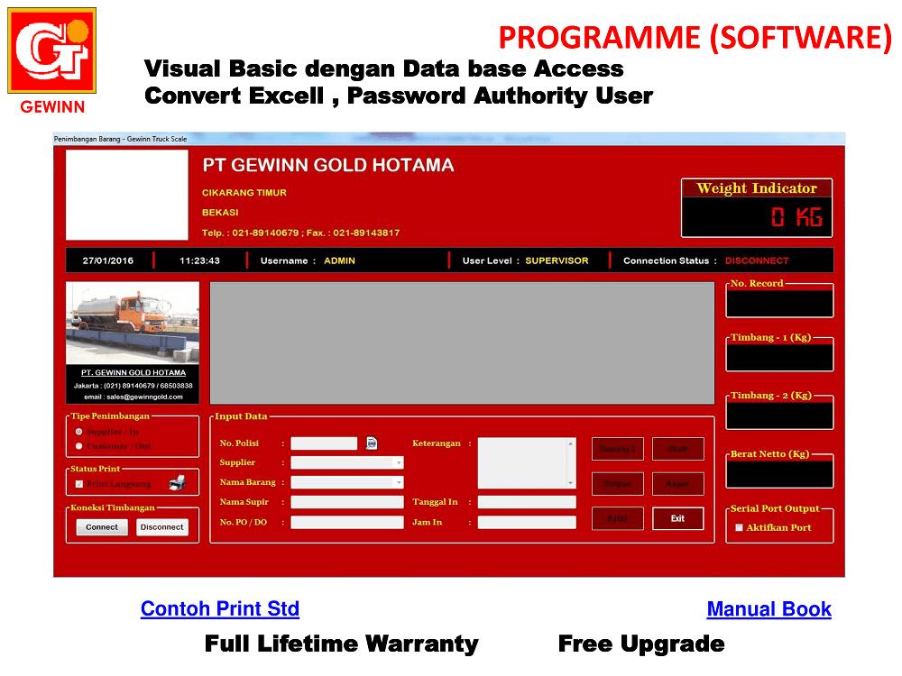 tampilan program software jembatan timbang